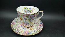 Allyn Nelson Collection Fine Bone China England Teacup Saucer Set Floral Chintz