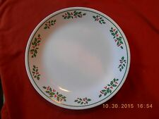 """Corelle WINTER HOLLY 10 1/4"""" Christmas Dinner Plate Green Band"""