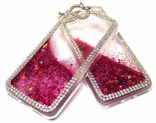 For iPhone 7 - Hot Pink Glitter Stars Rhinestones Liquid Waterfall Sparkle Case
