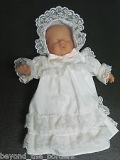 Sleeping Baby in White Gown & Cap w/ Lace / Baby Doll / Baptismal / Christening