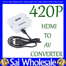 Compact HD HDMI to AV Video Converter PAL/NTSC Composite RCA TV PC WHITE 420P