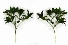 Set of 2 Artificial 48cm Laurel Bush with Veined Leaves - Fake Foliage Stem