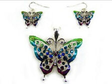 Multi-Colored Magnetic Butterfly Pendant With Matching Dangling Earrings