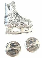 Ice Hockey Boot Handcrafted in Solid Pewter In UK Lapel Pin Badge
