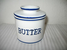 Butter Bell Crock Soft Butter Keeper Stoneware French Type White Blue Letter