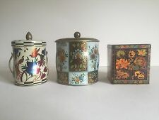 VINTAGE MULTICOLOR FLORAL METAL TEA TIN CONTAINER BOXES MADE IN ENGLAND SET OF 3
