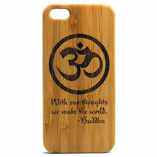 Buddha Quote Case for iPhone 7 Plus Bamboo Wood Cover Om Yoga Buddhist Mantra