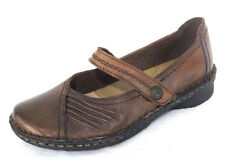 Earth Spirit Shoes Sz 6 Womens Brown Leather Velcro Mary Jane Loafers