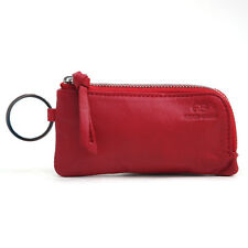 Genuine Leather Multi-functional Case Coin Purse with Key Chain Ring - Red