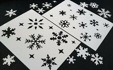 #S SNOWFLAKES Xmas Stencil Set Winter Card Making Scrapbook Reusable Mylar Snow