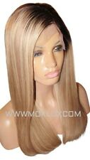 "Human Hair Wig Full Lace 18"" Long Ash Blonde Brown 2 9 60 Roots Highlight Moklox"