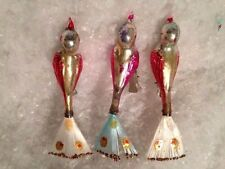 3 Vtg Shiny Brite Clip-On Song Birds Glass Glitter Xmas Ornaments 1940s Pink Red