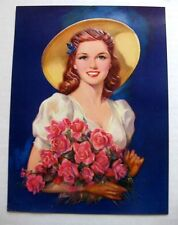1940s Lovely Pin Up Girl Picture by Erbit Woman w/ Flowers Embossed Image