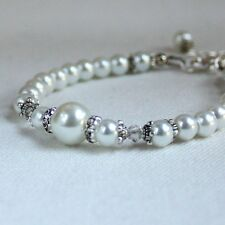 Vintage white pearls beaded bracelet silver party wedding bridesmaid gift