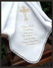 CATHOLIC BAPTISM Christening PERSONALISED white ivory baby warm BLANKET