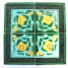 4 Antique England A.M.Ltd - Art Nouveau Majolicas - Tiles C1900 green   (#863)