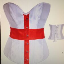Sexy silk effect ENGLAND ST GEORGE red / white  BASQUE Bodice EURO 2016 Football