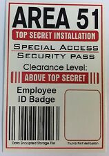 Area 51 Employee Badge ID w/ Thumbprint Verification & Neck Chain Not Laminated