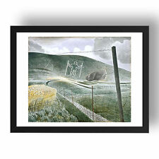 The wilmington giant by Eric Ravilious, A3 Black Frame