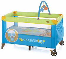 New Jane duo level travel cot with toy bar & toys animal dots from birth to 3yrs