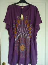 TOMMY & KATE PURPLE EMBELLISHED JERSEY TUNIC TOP COVER UK 16, EUR 42, US 12 BNWT