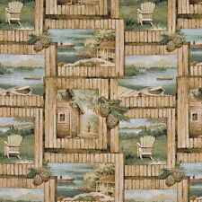 A002 Cabin Scene Fishing Boat Acorns Tapestry Upholstery Fabric By The Yard