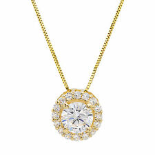 """1.50 ct Round Solitaire Halo Solid 14K Yellow Gold Pendant Necklace +16"""" Chain"""