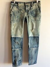 FREE PEOPLE DISTRESSED PATCHWORK SKINNY JEANS SIZE 24