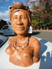 Vtg Hand Carved Wood Tribal Ethnic Igorot Woman Bust Philippines Wood statue