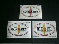 "(3) SANTA CRUZ, MONTEREY, BIG SUR, SURF SURFING SURFBOARD ""SURFED THAT"" STICKERS"