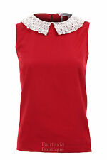 Ladies Pearl Diamante Sequin Collar Chiffon Nude Red Blouse Women's Party Top