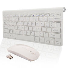 Slim 2.4GHz Wireless Keyboard & Mouse USB Receiver Combo Set Kit White US Ship
