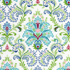 FLORAL DAMASK Turquoise Green White Cotton Flannel Fabric  By the Yard