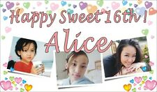 3ftX5ft Custom Personalized Happy Sweet 16th Birthday Banner Sign W/ 3 photos