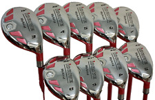 PINK iDRIVE WOMENS ALL HYBRID RESCUE FULL SET 3-PW + SW GOLF CLUBS