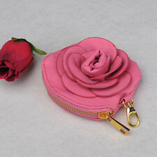 Rose Red Sweet Camellia PU Leather Purse Handbag  Lady Women Wallet  Key Bag NEW