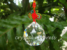 FENG SHUI - 5CM FACETED METAL ELEMENT CLEAR HANGING CRYSTAL BALL TASSEL