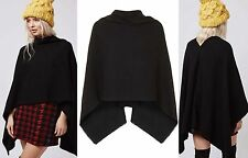 RRP £ 22 Nero kitted cappuccio collo caldo SMART poncho scialle sciarpa Wrap