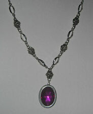VICTORIAN STL magenta PURPLE ACRYLIC CRYSTAL SILVER PL ROSE PENDANT NECKLACE RS