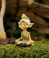 Miniature Garden Pixie Meditating with Frog 4476 Dollhouse  Fairy Gnome Garden