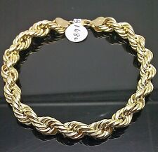 "10K Yellow Gold Rope Bracelet 8mm, 8"" Long"