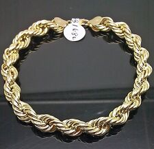 "10K Yellow Gold 1Rope Bracelet 8mm, 8"" Long"