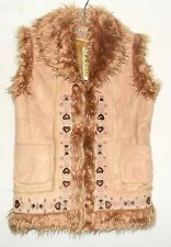 Bacci Camel Color Embroidered Faux Suede w/ Wild Faux Fox Fur Trim Vest Sz L NWT