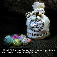 50 Pcs Kinds of Taste Premium Lao Cang Mini Tuo Cha Puer Tea Assortment + Bag