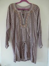 NWT CUSTO BARCELONA YASMINKA EYELET EMBROIDERED LILAC TUNIC SHIRT 2 / S