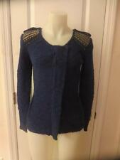 WOMENS JAMISON FOR SCOOP NYC ZIP UP WOOL SWEATER WITH STUDS ON SHOULDER- SZ S