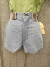 Deadstock Vtg 70s NEW Faded Blue All Cotton Denim High Waist Shorts 9/10 Hipster