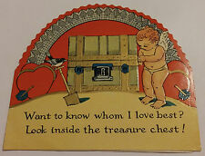 VINTAGE VALENTINE'S DAY CUPID W/OPENING TREASURE CHEST GREETING CARD - U S AM