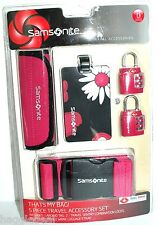 SAMSONITE 5 PIECE TRAVEL ACCESSORY SET TSA APPROVED PINK