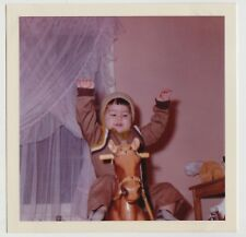 VINTAGE Square 60s PHOTO Of TODDLER Riding ROCKING HORSE
